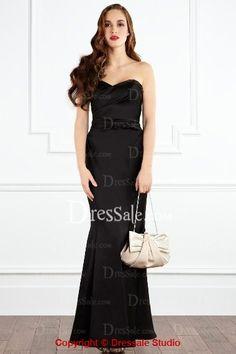 Black Bridesmaid Dress with Detachable Spaghetti Straps