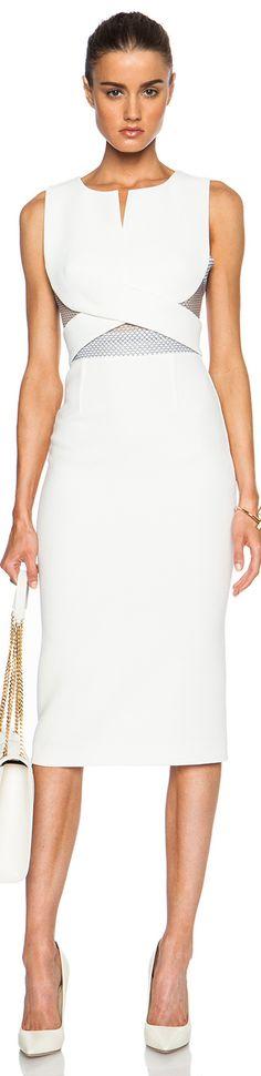 ROLAND MOURET BETLEY DRESS WHITE MESH
