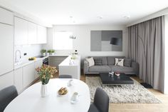 Living Room And Kitchen Design, Living Room Grey, Home Decor Kitchen, Interior Design Kitchen, Living Room Designs, Kitchenette, Best Kitchen Designs, Small Apartments, New Homes