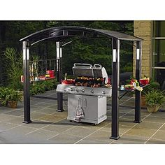 Grill Gazebo  sc 1 st  Pinterest & Hampton Bay Walker 8 ft. x 5 ft. Steel Grill Gazebo L-GZ411PST ...