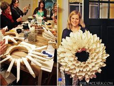 Holiday crafting party: Bookpage Wreaths    http://emilyaclark.blogspot.com/2012/11/holiday-craft-ideas-what-we-made.html
