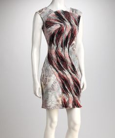 Pink & Gray Fan Dress by Samuel Dong.  This is a great statement dress--a twist on a simple, classic silhouette.