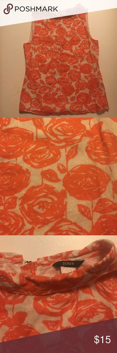 Adorable JCrew Sleeveless Top Adorable orange floral JCrew top with a demure collared boatneck. Lightweight cotton. Gently worn, like new! J. Crew Tops