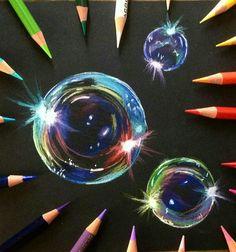 Bubbles in colored pencil