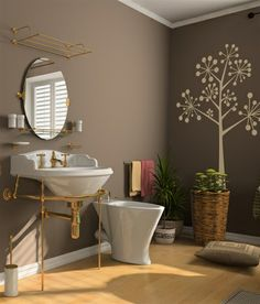 wall decals Vinyl Wall Decal Nature Design Tree Wall Decals chrildren's wall decals Wallstickers Tree with birds decals :Dandelion Bathroom Wallpaper Brown, Brown Paint Colors, Wall Tattoo, Brown Walls, Vinyl Wall Decals, Wall Stickers, Tree Wall, Home Remodeling, Kitchen Remodeling