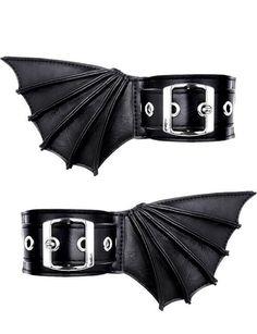 Bat Wings Cuffs Batwings Cuffs Black Gothic Bat Bracelets with Bat Wings Bat wings anklets