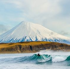 Surf and snow covered mountains. Wild Free.