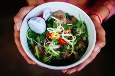High angle close up of person holding bowl of beef pho.,Hanoi - Buy this stock photo and explore similar images at Adobe Stock Vegetarian Vietnamese, Vietnamese Pho, Beef Noodle Soup, Beef And Noodles, Pho Vietnam, Spinach Noodles, Pho Bo, Vietnam Tourism, Asian Recipes
