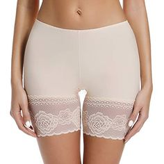 Slip Shorts for Under Dresses Thigh Bands Anti Chafing Lace Panties Underwear Women Base Layer Beige, Anti Chafing Underwear, Satin Panty Pics, Shorts For Under Dresses, Anti Chafing Shorts, Ropa Interior Babydoll, High Waisted Black Jeans, Lace Trim Shorts, Women's Shapewear, Unisex
