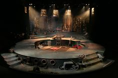 Man of La Mancha: the theatre is a proscenium stage, but the stage itself rotates within the circular boundary to create the Don Quixote story within the musical... If you catch my drift.