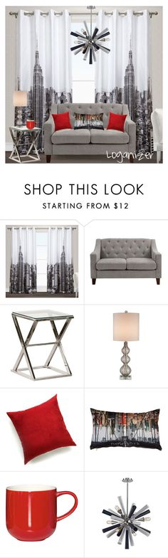 """City Chic with a Touch of Red"" by logan-burns on Polyvore featuring interior, interiors, interior design, home, home decor, interior decorating, Exclusive Home, Dorel Asia, Currey & Company and Pillow Decor"