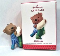 2013 Hallmark No Date Grandson Stocking Teddy Bear PJs Keepsake Ornament MIB #Hallmark