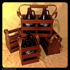 """GROWLER CRATES: sapele and walnut scraps get a second life carrying home your favorite local brew. Leather straps and copper rivets. 12"""" x 5.5"""" x 7""""  Singles: $40, Doubles: $60, Double Deluxe (w/ wood and leather handle): $80 Laser engraving available."""