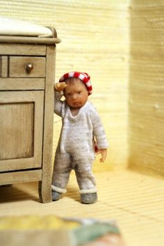 "Miniature dollhouse OOAK boy 1 year old  1/12 scale ""I didn't want to have a pee"". €150.00, via Etsy."
