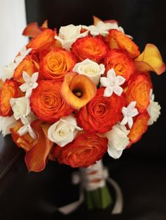 orange bridal bouquet ideas | Orange Rose Wedding Ideas and Inspirations | Budget Brides Guide : A ...