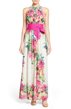 Eliza J Floral Print Chiffon Maxi Dress (Regular & Petite)
