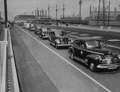 A line of cars on the Aliso Street viaduct, Los Angeles, August 15, 1944
