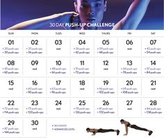 30-day push up challenge calendar | fitness schedule: try glow's 30-day push-up calendar!