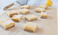 Lemon Bars by Against All Grain (gluten-free: uses coconut flour and ground sunflower seeds (can swap sunflower seeds with almond flour), refined sugar-free: sweetened with honey).