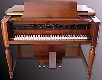 Hammond Novachord - The Novachord is often considered to be the world's first commercial polyphonic synthesizer.[1][2][3] All-electronic, incorporating many circuit and control elements found in modern synthesizers, and using subtractive synthesis to generate tones, it was designed by John M. Hanert, Laurens Hammond and C. N. Williams, and was manufactured by the Hammond company.[4] Only some 1,069 Novachords were built over a period from 1939 to 1942.