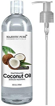 Majestic Pure Fractionated Coconut Oil 16 fl. oz. For Aromatherapy Relaxing Massage Carrier Oil for Diluting Essential Oils Hair & Skin Care Benefits Moisturizer & Softener