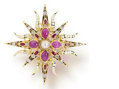 A ruby, diamond and enamel brooch, Tony Duquette