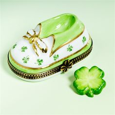 Limoges Irish Baby Shoe Box with Clover The Cottage Shop
