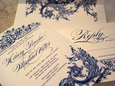 Wedding Invitation Duchess Collection - Invitation Reply and Royal Lined Envelope