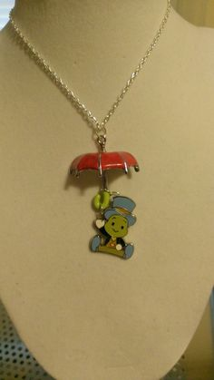 Pinocchio Jiminy Cricket Upcycled PINdant And Hand Painted Silver Umbrella Necklace Disney Trading Pin Jewelry