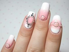 Pink & White with rhinestones - Click on photo for tutorial