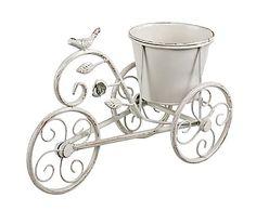 Кашпо-велосипед - металл - белый, 22,5х14х33 см