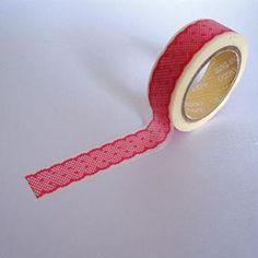 Washi Tape blanco con encaje rosa 2