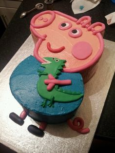 George Pig and Dinosaur - for my little rabbit Viola. George Pig and Dinosaur - for my little rabbit Viola. Bolo George Pig, Peppa E George, George Pig Party, Simple Birthday Cake Designs, Cake Designs For Kids, Peppa Pig Birthday Cake, Boy Birthday, Special Birthday, Birthday Ideas