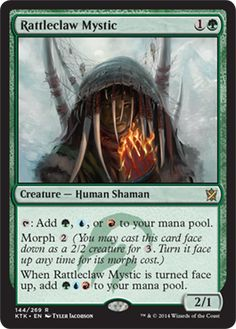 Rattleclaw Mystic | Khans of Tarkir | MAGIC: THE GATHERING   Morphable mana dork!  Could be very good!