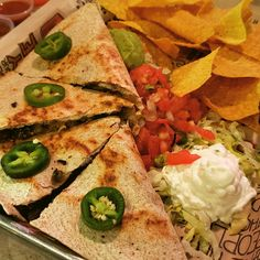 How you like your quesadilla??? #chicken #beef #shrimp #fried #spicy #mild #sourcream #chip #dip #bemaifoodie