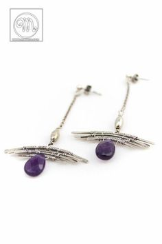 Aello - long, light, femine, romantic wire wrapped silver earings, earstuds with amethyst