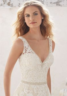 Morilee by Madeline Gardner 'Morgan' 8124 | Classic A-Line Wedding Dress Features Alençon Lace AppliquéŽs and Medallion Details on Tulle with Crystal Beaded Trim. Scalloped Hemline. Deep V Back Accented with Covered Button Detail.