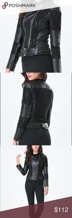Bebe NWT leather jacket NWT absoloutely gorgeous true to size price firm retail 149$ plus tax bebe Jackets & Coats