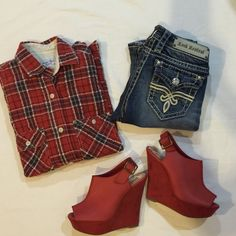 Steven Alan red plaid top Gently worn , size S , cotton & polyester (red wedge shoes size 7 for sale - see separate listing) Steven Alan Tops Button Down Shirts