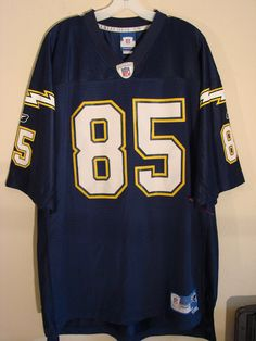 CHARGERS #85 GATES Dark Blue/White Game Jersey Size: 4XL #Reebok #SanDiegoChargers
