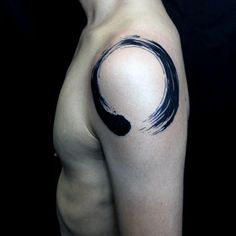 Shoulder Enso Black Ink Male Tattoo Designs