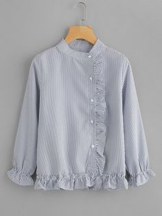 2018 Okt 6 - Material: Polyester Color: Blue Pattern Type: Striped Collar: Band Collar Style: Casual, Cute Type: Peplum Decoration: Ruffle, Button Sleeve Length: Long Sleeve Fabric: Fabric has no stretch Season: Spring, Fall Shoulder(Cm): Bust(Cm): Length Collar Styles, Blouse Styles, Blouse Designs, Muslim Fashion, Hijab Fashion, Fashion Dresses, Blouse Models, Dresses Kids Girl, Girls