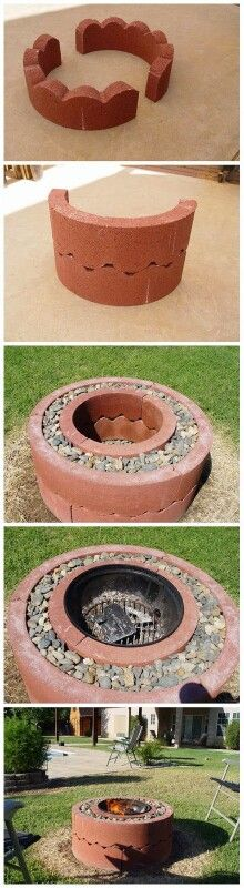 Concrete Outdoor Firepit - Would think about adding propane to the ring of rocks on the outside for something 'different'