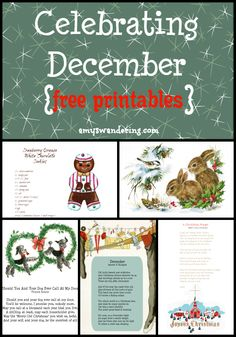 Celebrating December Printables - FREE vintage Christmas printables, poems, copywork, coloring pages, & more! Vintage Christmas Wedding, Christmas Wedding Centerpieces, Free Christmas Printables, Free Printables, Vintage Travel Themes, Science Projects For Kids, Christmas Planning, Christmas Graphics, Vintage School