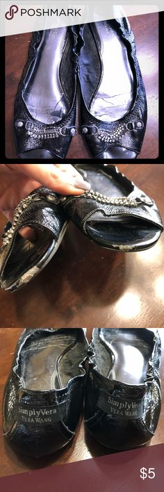 Simply Vera Wang Peep Toe Flats in Black Simply Vera Wang Peep Toe Flats size 10 in Black with Jeweled tops, these were well loved and so all the wear and tear is indicated in photos and price reflected. Simply Vera Vera Wang Shoes Flats & Loafers