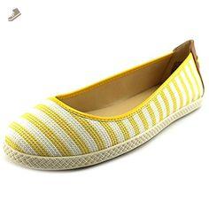 Nine West Royalli Yellow White Fabric Flat Women Size 8.5 M - Nine west flats for women (*Amazon Partner-Link)