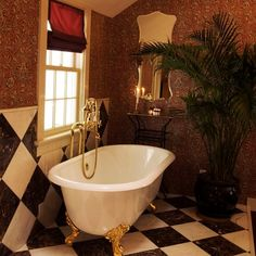 1950s bathroom with banana leaf wallpaper - Google Search