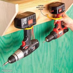 Drill Hangout - Those big hooks that are often used to hang bikes also make slick drill hangers. Get them at any home center for a couple of bucks apiece.