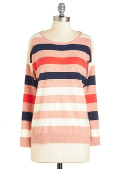 Dashing to the Diner Sweater. See you in ten, you tell your bestie before hanging up and reaching for this striped sweater. #coral #modcloth