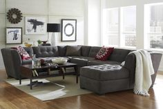Short on space? A sectional sofa in 3, 5 or 6-pc. reversible configurations is an easy fix